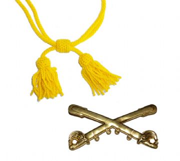 Yellow Cavalry Metal Badge & Wool Hat Cord